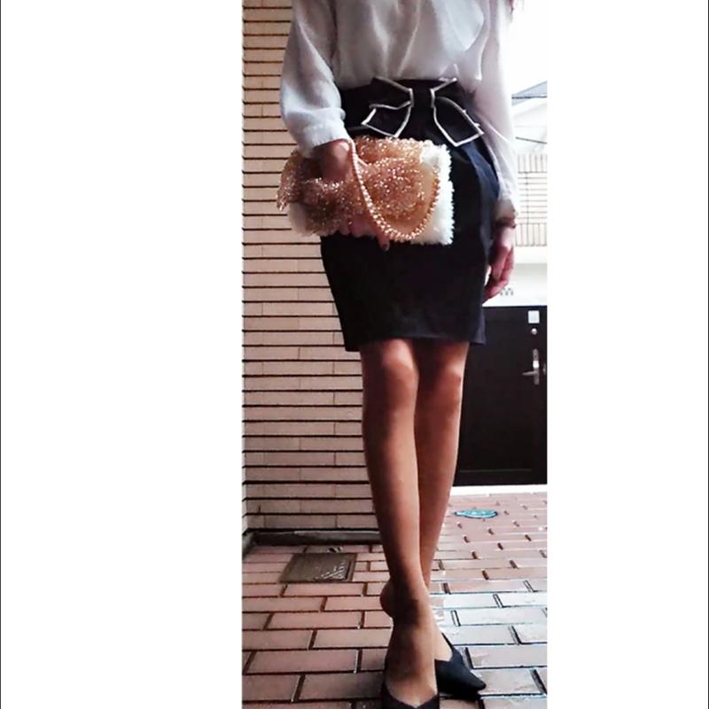 ホワイト&ゴールドオリジナルハンドバッグ
