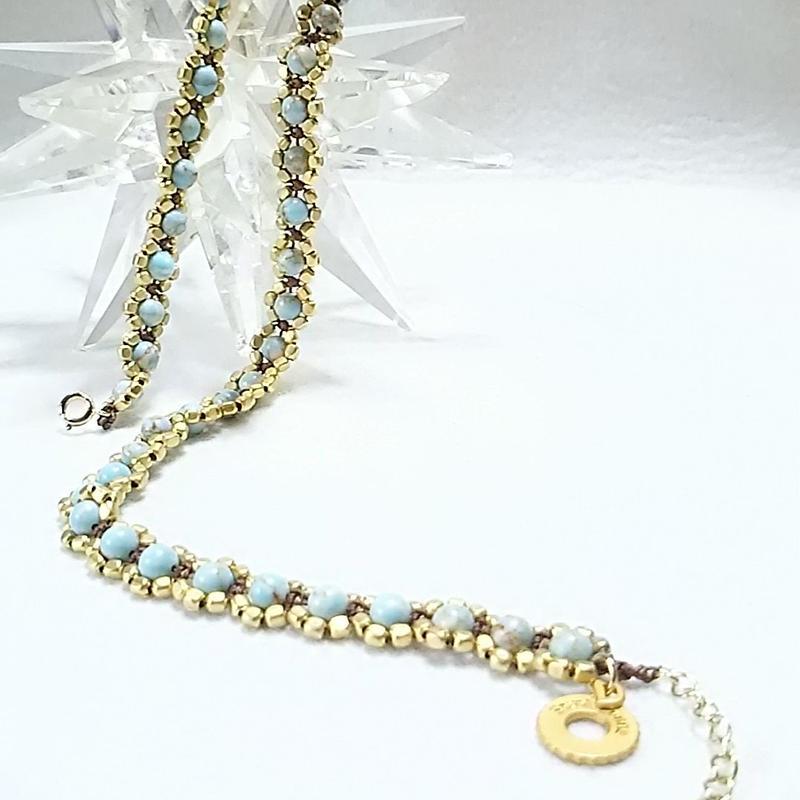 練りトルコ石 チョーカー ネックレス  (gold)