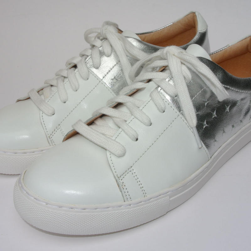 Color Block Lace Up WHITE