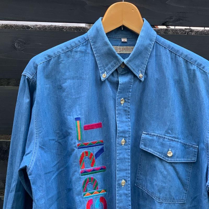 ESPRIT/エスプリ ロゴ刺繍デニムボタンダウンシャツ 90年代 (USED)
