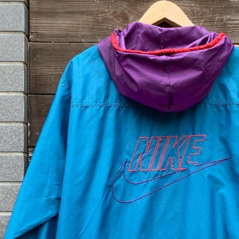 NIKE/ナイキ ビッグロゴナイロンフードジャケット 90年代 (USED)