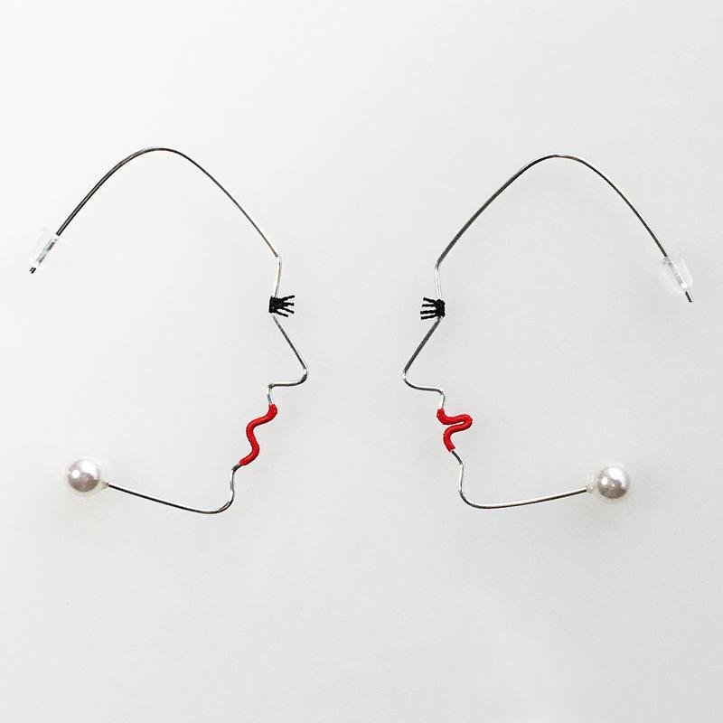 SF wire earring/シルバーフィールドワイヤーピアス 横顔(阿吽ペア)