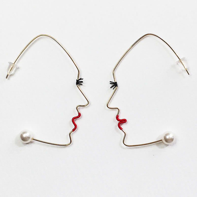 14KGF wire earring/14KGFワイヤーピアス 横顔(阿吽ペア)