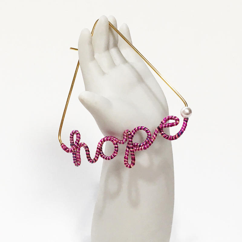 14KGF×silk word pierced earring/14KGFワイヤー×シルク糸のピアス(片耳)/hope