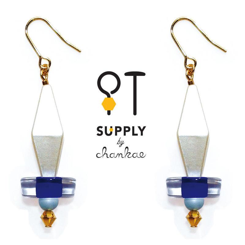 Jewelry kit アクセサリー制作キット/ひし形ヴィンテージビーズのピアス(イヤリング変更可)