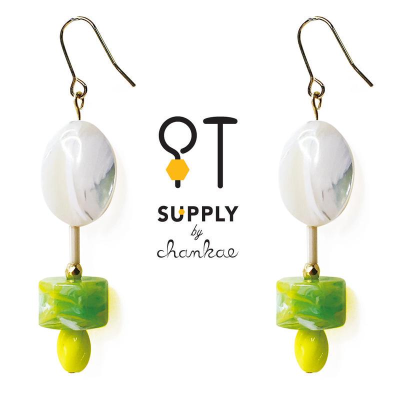 Jewelry kit アクセサリー制作キット/マザーオブパールとヴィンテージビーズのピアス(イヤリング変更可)