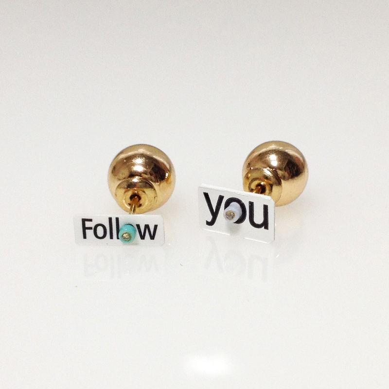 Metrocard pierced earrings メトロカードピアス/メッセージタイプ・Follow you ×ゴールドパール
