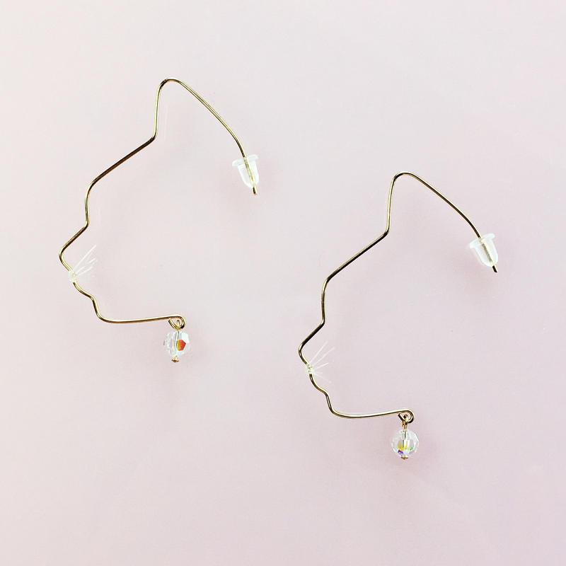 14KGF wire earring/14KGFワイヤーピアス ネコ横顔(ペア)