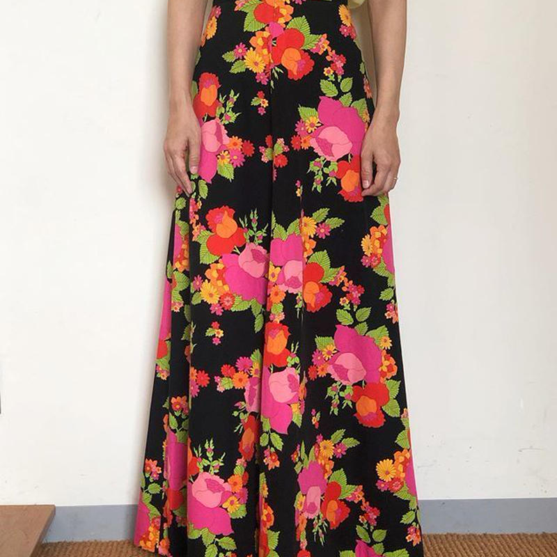 70s Floral Maxi Skirt