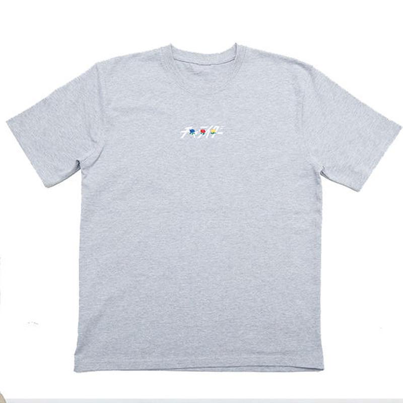チューリップ刺繍ブアツイTシャツ  グレー