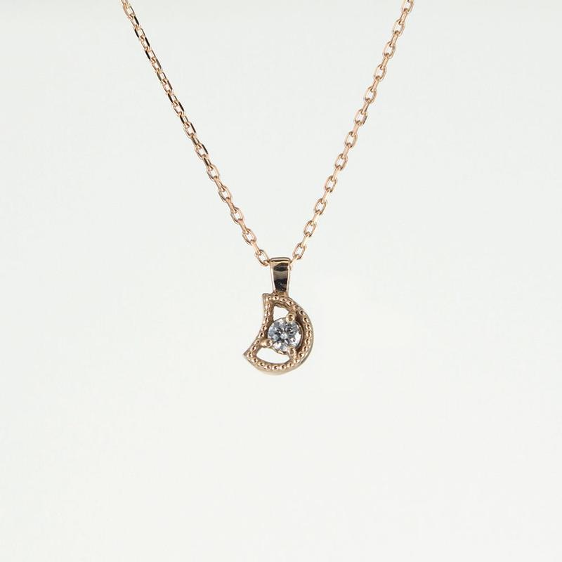 K18 ピンクゴールド ダイアモンド クレッセントムーン ネックレス