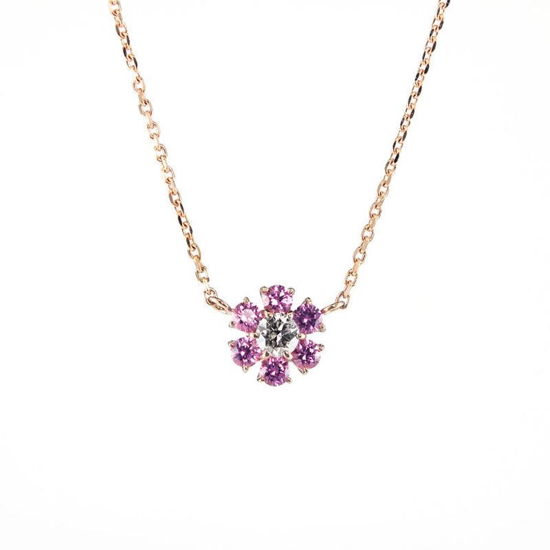 〈BLOOM〉K18 ピンクゴールド ピンクサファイア ダイアモンド ペンダント ネックレス
