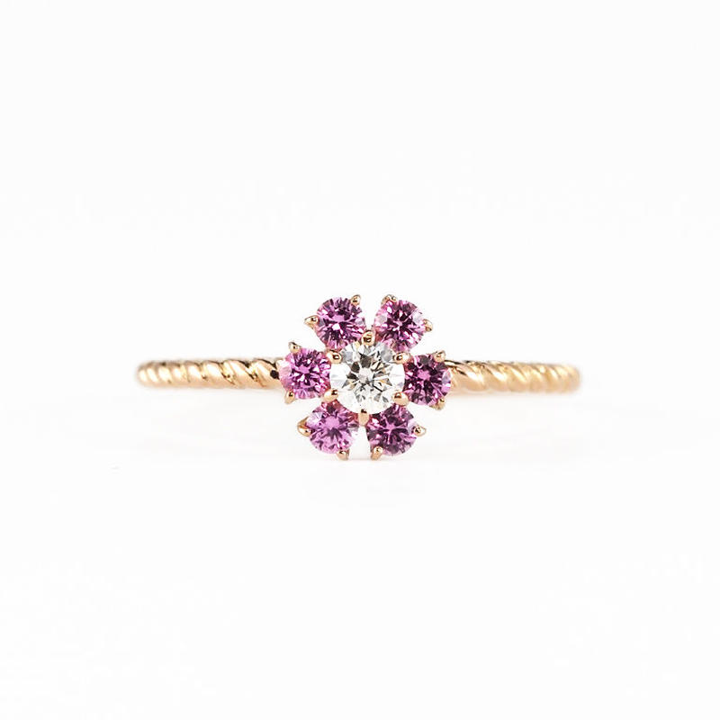 〈BLOOM〉K18 ピンクゴールド ピンクサファイア ダイアモンド リング
