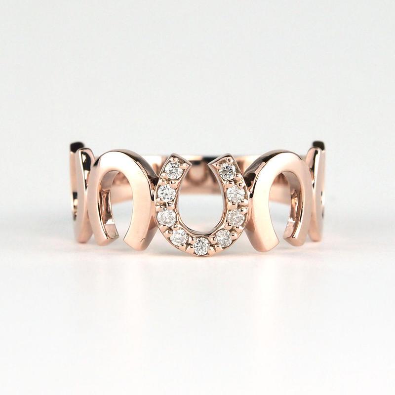 K10 ピンクゴールド ダイアモンド 馬蹄 リング