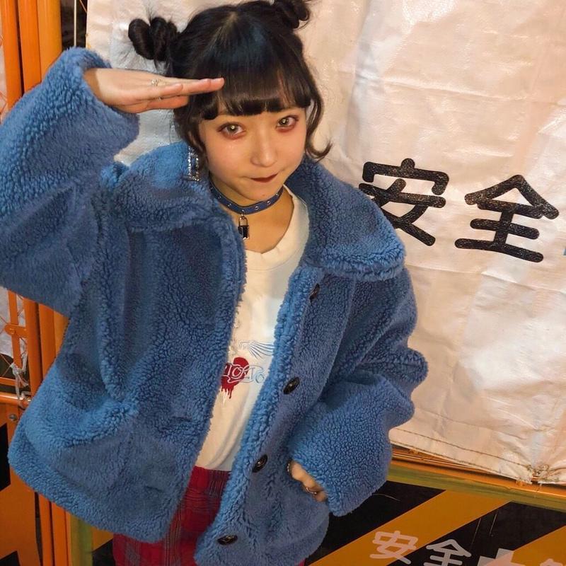 Blue baby bear boa jacket