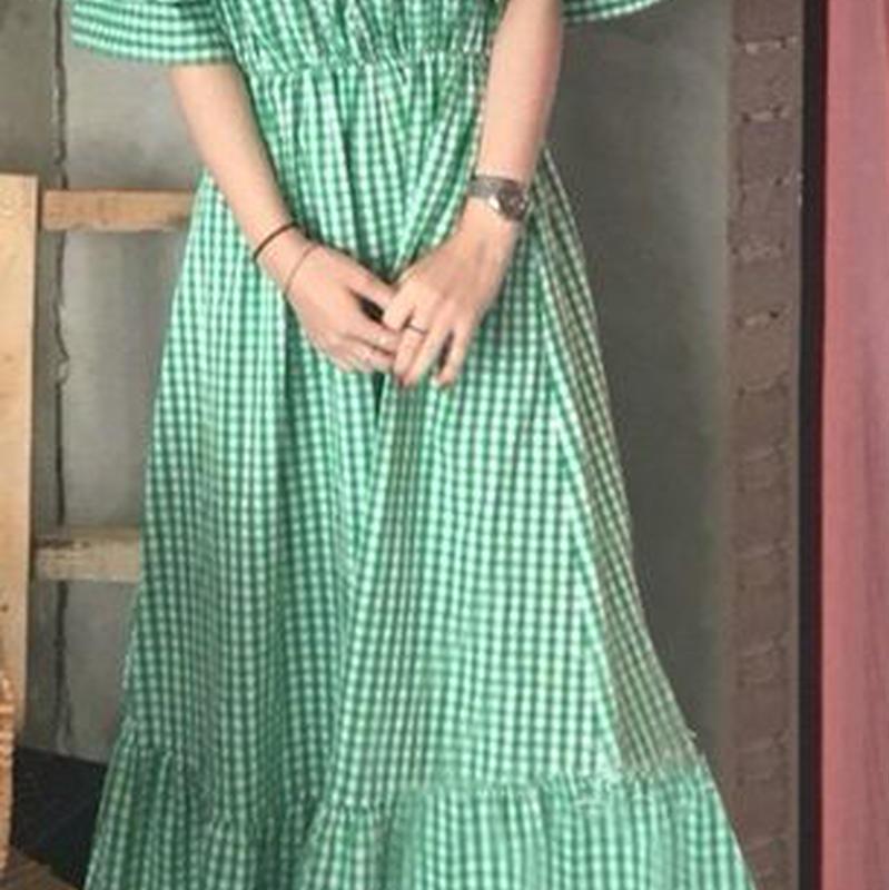 レディース 海外 インポート グリーン ホワイト コットン ギンガム チェック 柄 フリル オフショルダー マキシ ワンピース ドレス