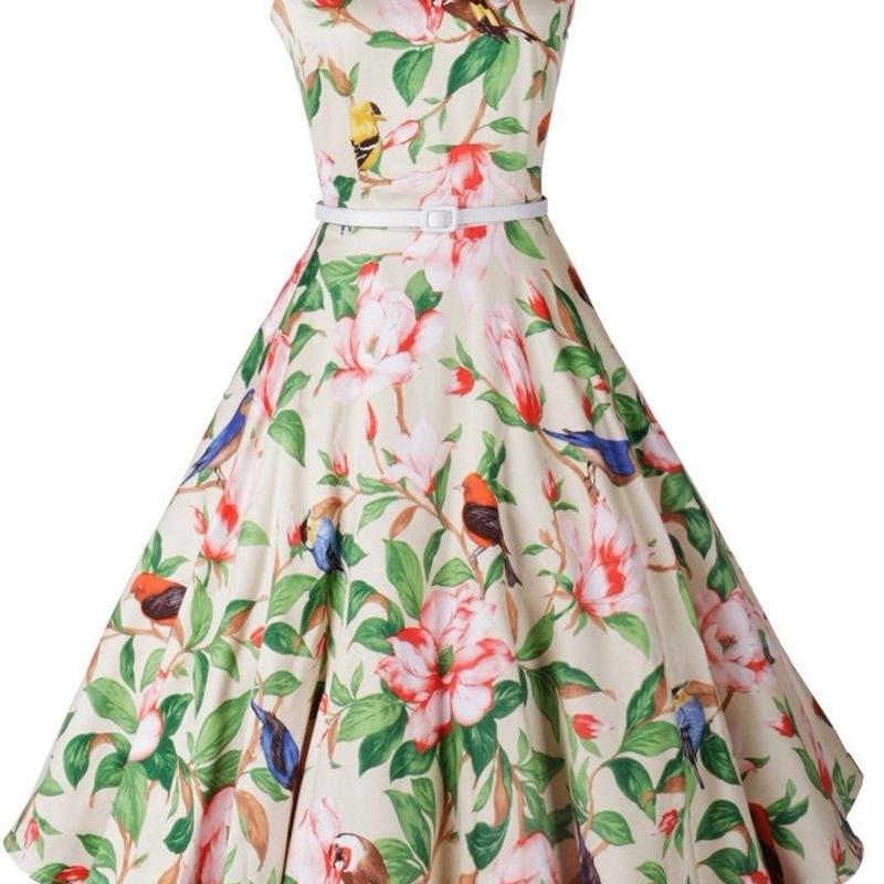 海外 インポート ホワイト グリーン フラワー ミモレ丈 ベルト付 フレアー ワンピース パーティー ドレス 花柄 白