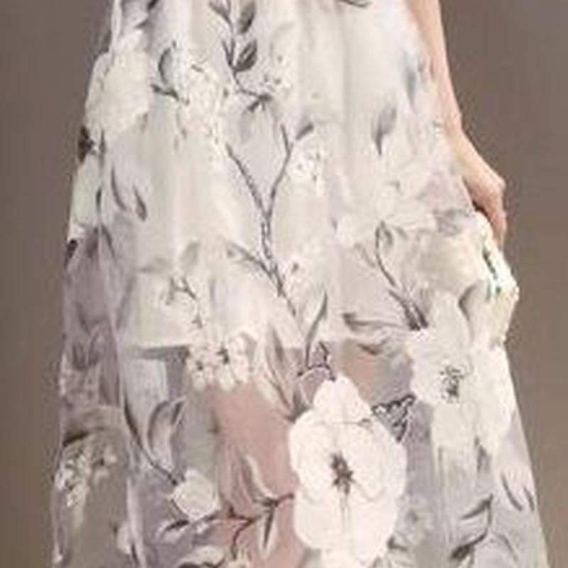 レディース ホワイト フラワー オーガンジー シースルー ミモレ 丈 ワンピース ドレス 白