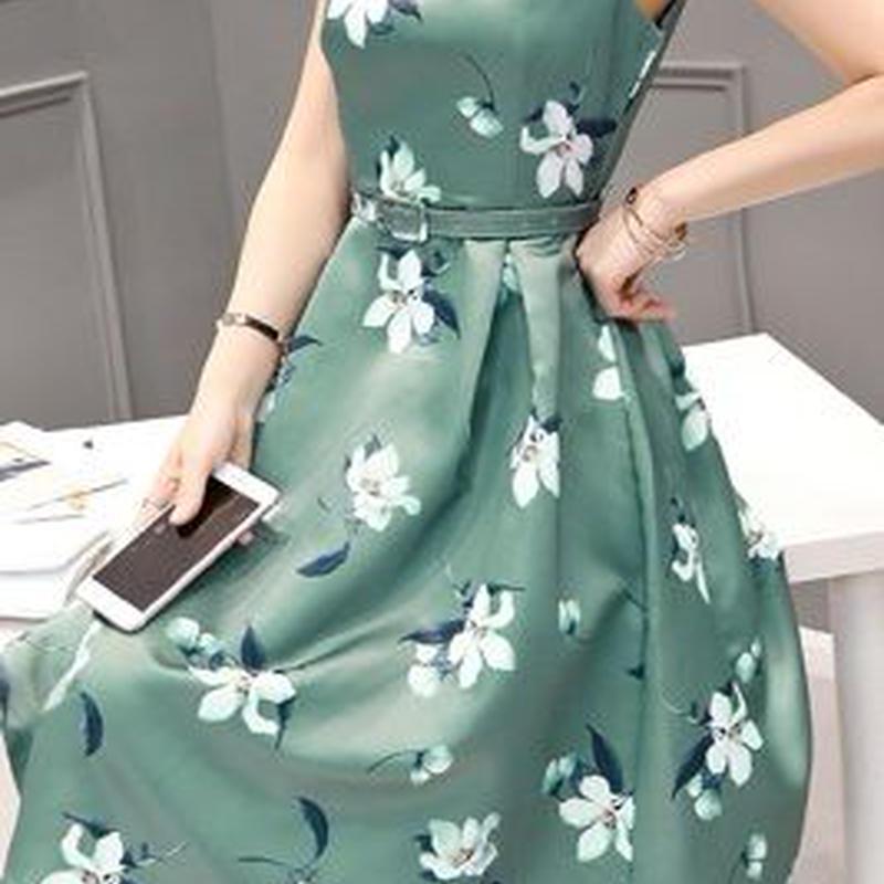 海外インポートグリーンホワイトフラワーベルト付ミディミモレ丈ワンピースパーティードレス花柄