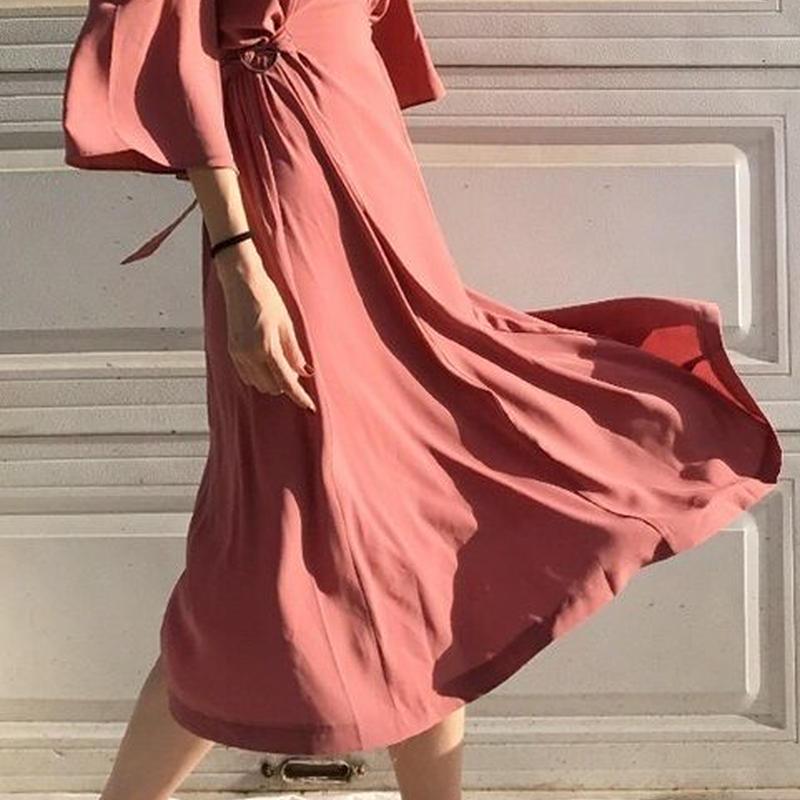 レディース 海外 インポート ローズ ピンク フリル オフショル ミモレ丈 ワンピース ドレス