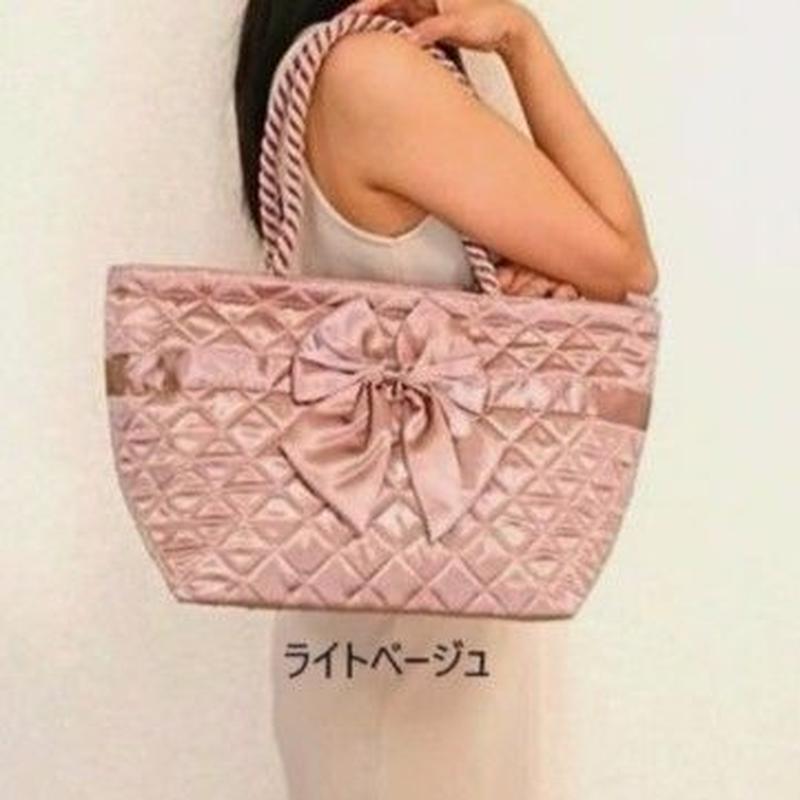 【全7色♡どのカラーもかわいい♡】持ち手編み目のお洒落な舟型サテンバッグ♡NBS-52B/L