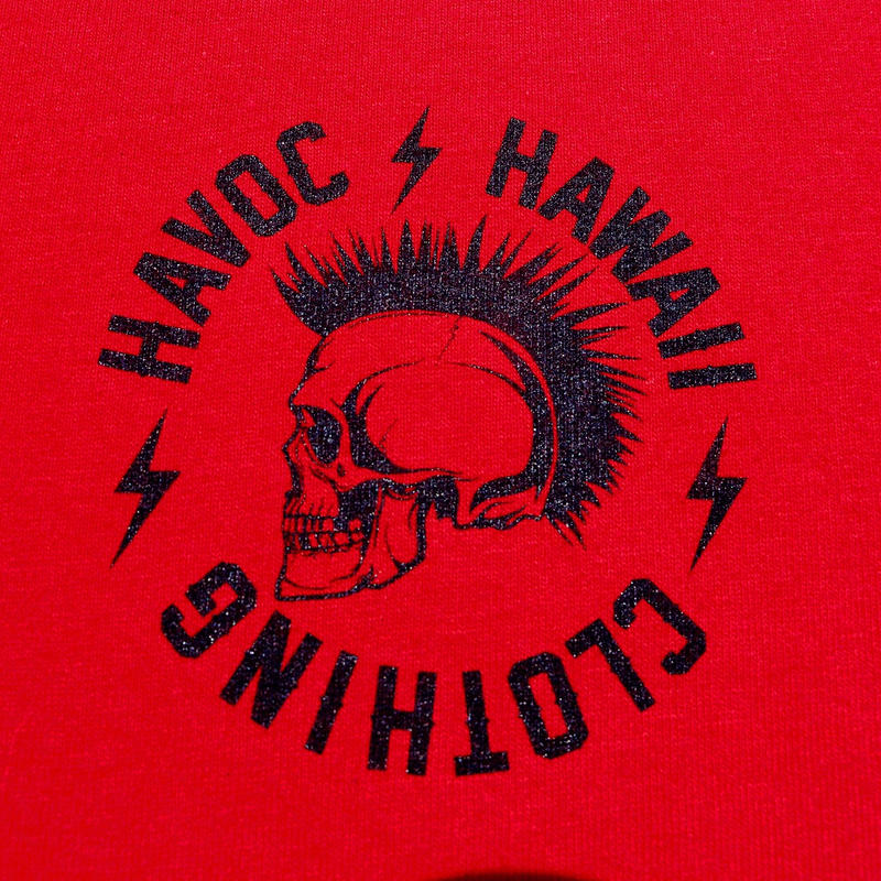 HAVOC HAWAII CLOTHING        Rock T-shirts レッド/ブラック