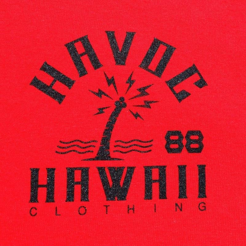 HAVOC HAWAII CLOTHING      HAVOC CITY T-shirts レッド/ブラック