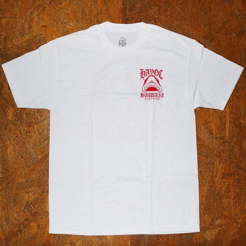 HAVOC HAWAII CLOTHING   SHARK    Tshirts   ホワイト/レッド