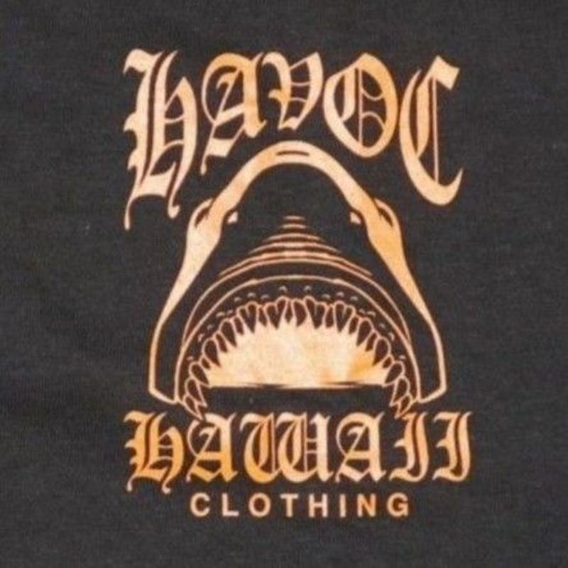 HAVOC HAWAII CLOTHING     SHARK     Tshirts ブラック/オレンジ