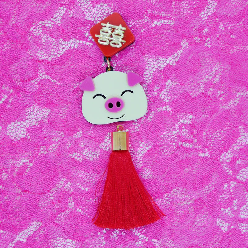 Chinese red(Pig  face)piercing/ear clip(1piece)