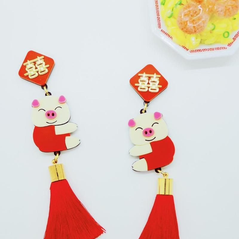 Chinese red (Pigs) earrings/ear clips