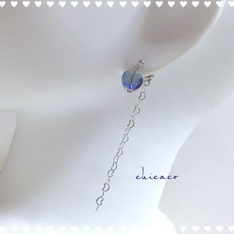 ダークブルー水晶の💙ハートピアス/イヤリング