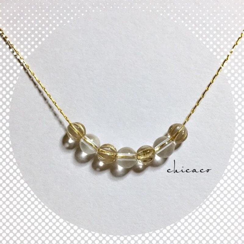 天然石水晶とチェコメロンのクリアなネックレス gold