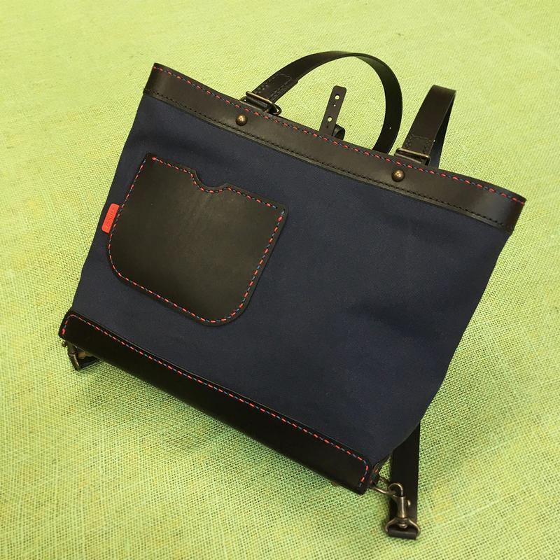 ヨコ型リュック・トート(ネービー帆布+革)