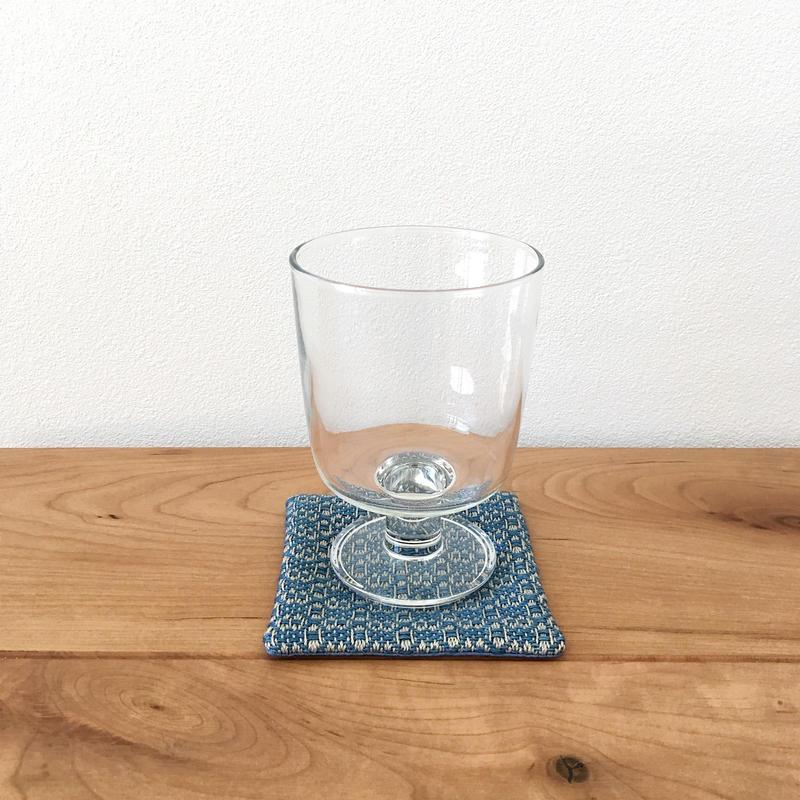手織りコースター ( Coaster Flower Linen Indigo blue)