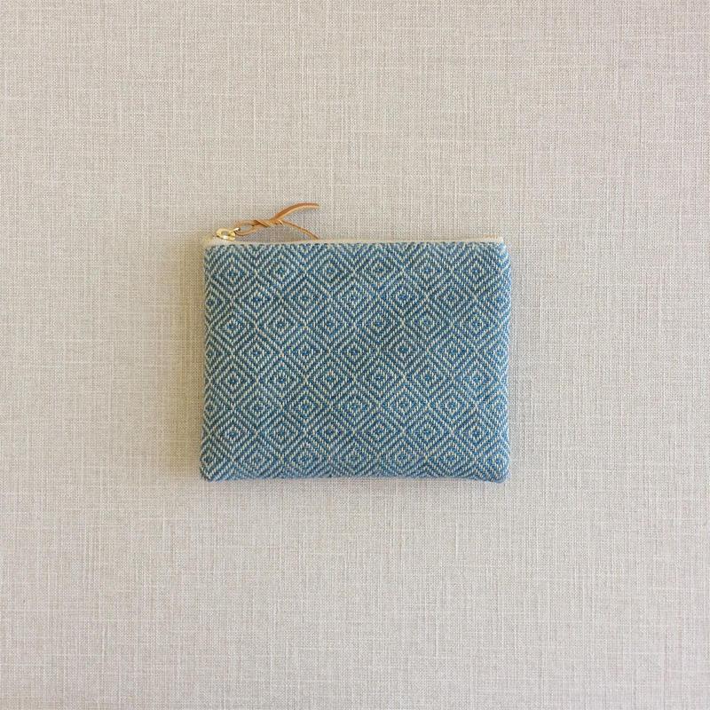 手織り布のミニポーチ (Accessory case  Indigo bird's-eye)
