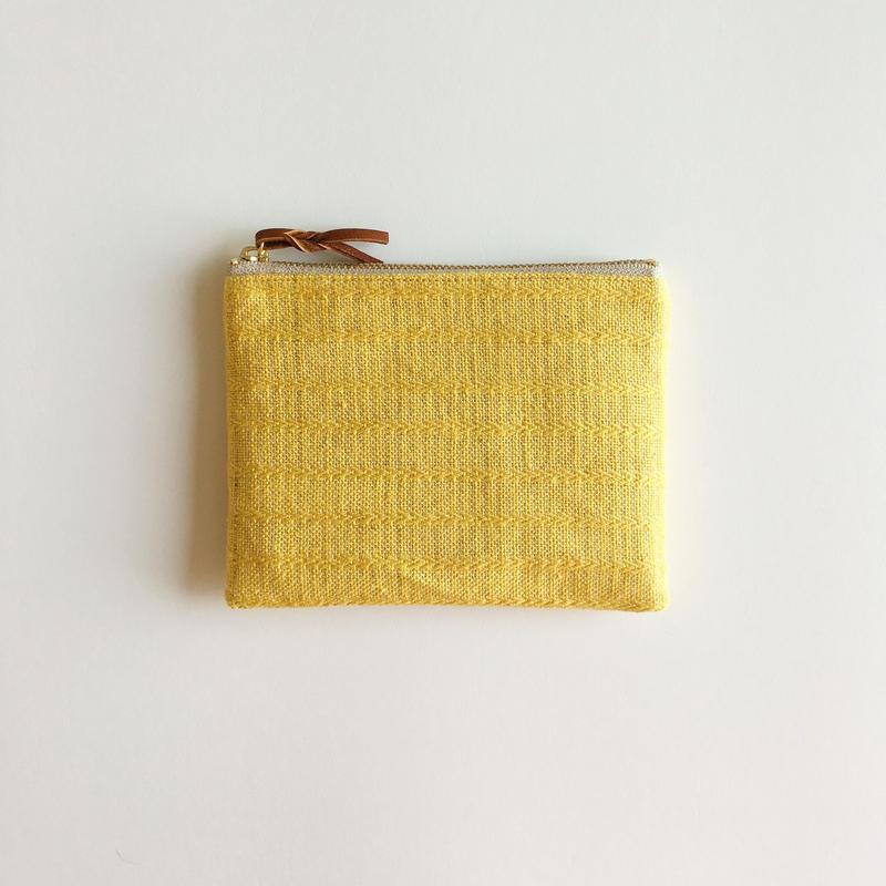 手織り布ミニポーチ (イエローアリニア/Yellow Alinea Accessory case)