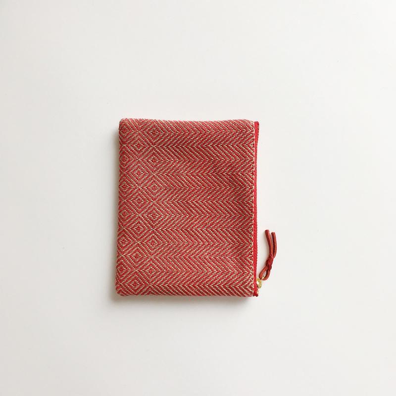 手織り布ミニポーチ ( Accessory case  Red bird's-eye&herringbone)