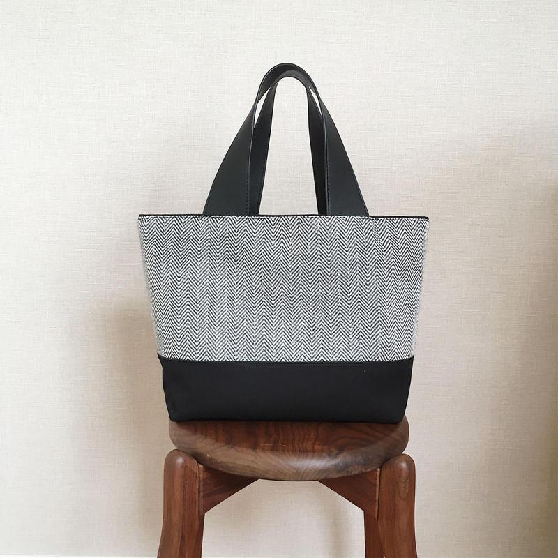 手織り布のバッグ(Bag  monotone herringbone )
