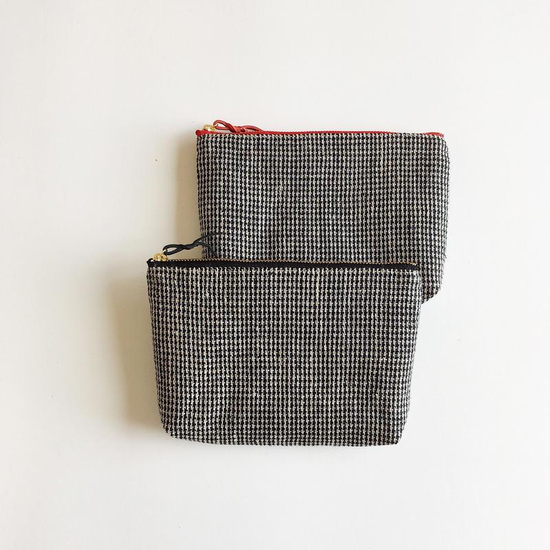手織り布メイクポーチ ( Make up bag  small check)