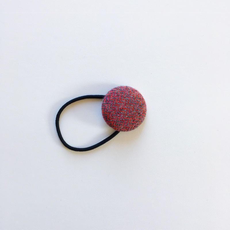 手織り布のヘアゴム (Hair ornaments  red herringbone)