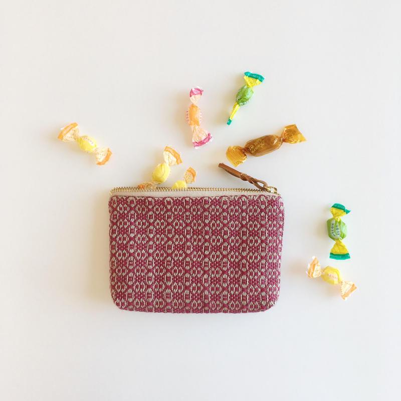 手織り布のキャンディポーチ ( candy case  Bordeaux flower)