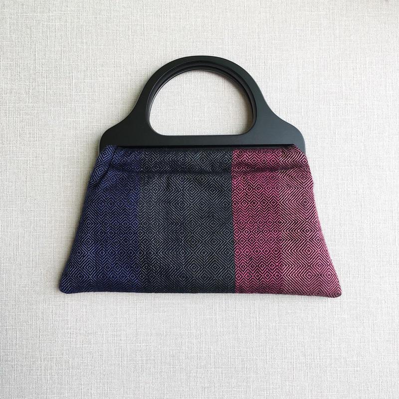 【1点のみ】手織りウッドハンドルバッグ ( 紫陽花 Ajisai)