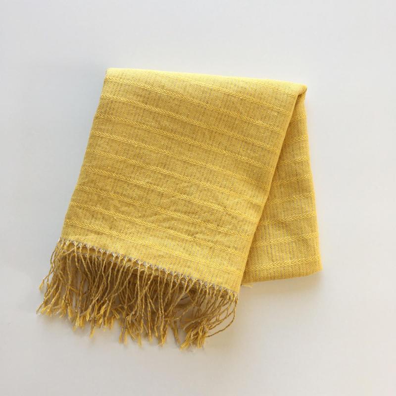 手織りシルク&リネンショール(イエローアリニア/Yellow Alinea)