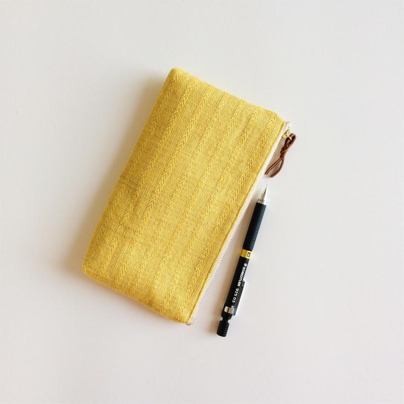手織り布横長ポーチ (イエローアリニア/Yellow Alinea Long case)