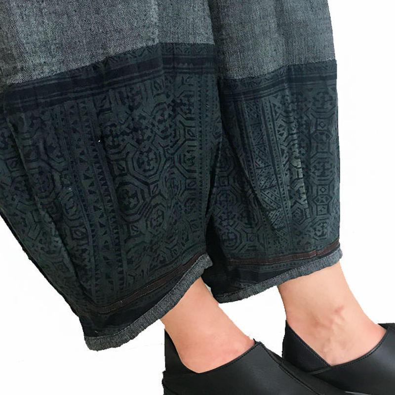 LL~3Lサイズ、ジョムトン手織り綿のもんぺ、モン刺繍付きパンツ黒、オールシーズン