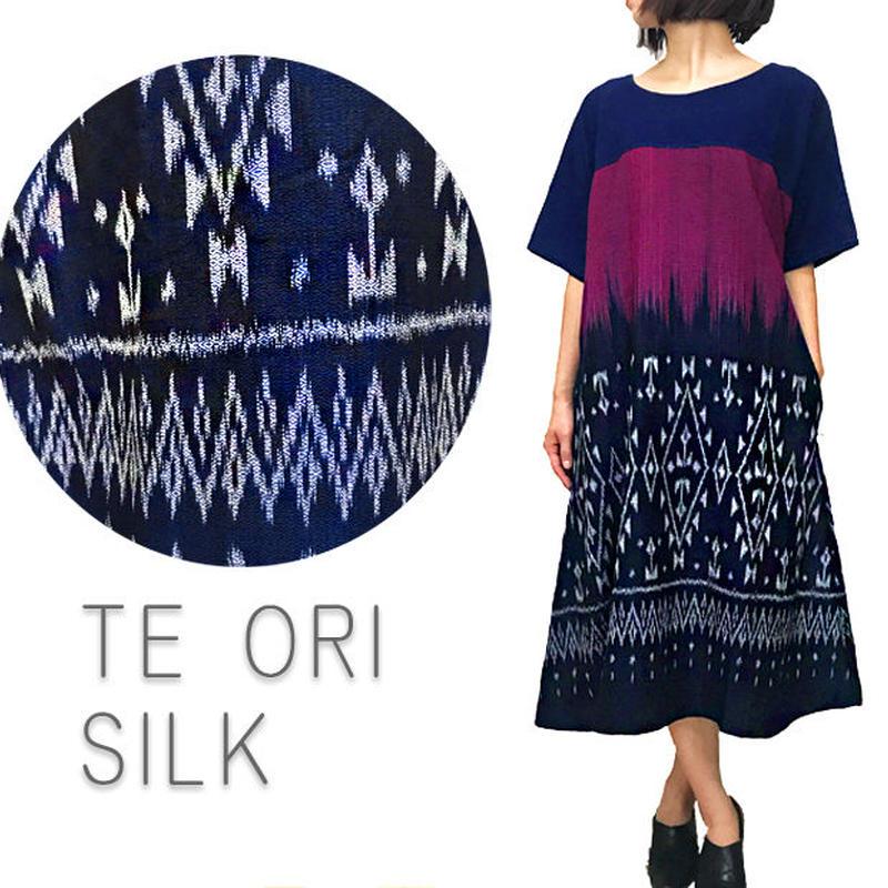 草木染、藍染、手織り上質シルクのゆったりワンピース、オールシーズン
