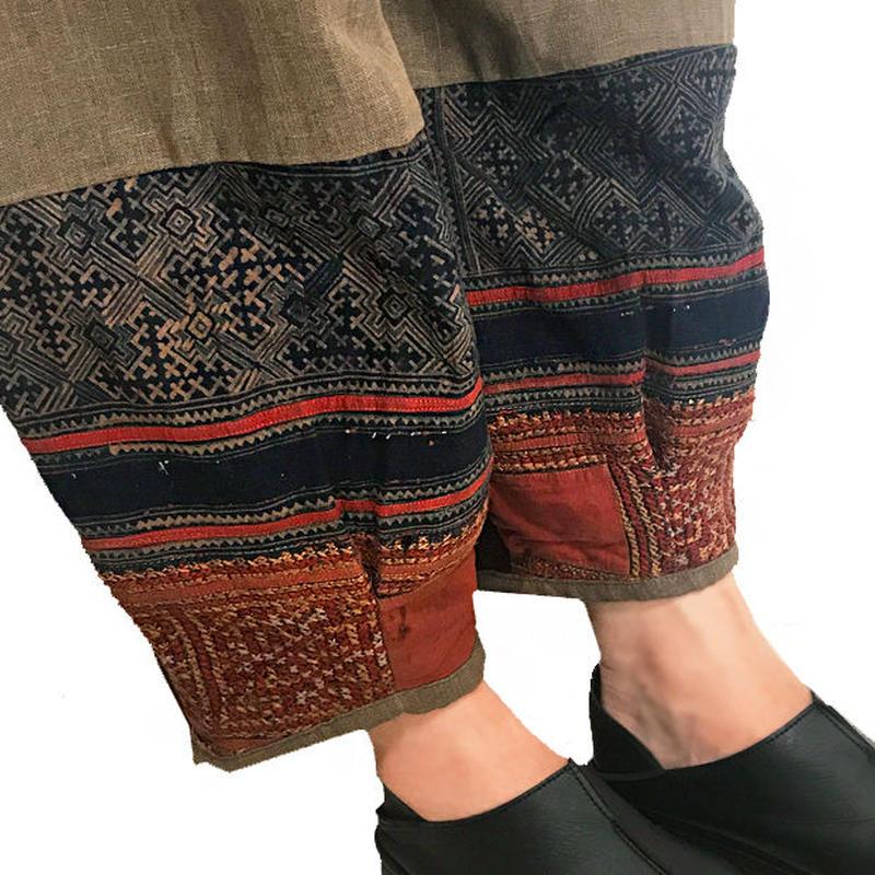 LL~3Lサイズ、手織りヘンプのもんぺ、モン刺繍付きパンツ茶、オールシーズン