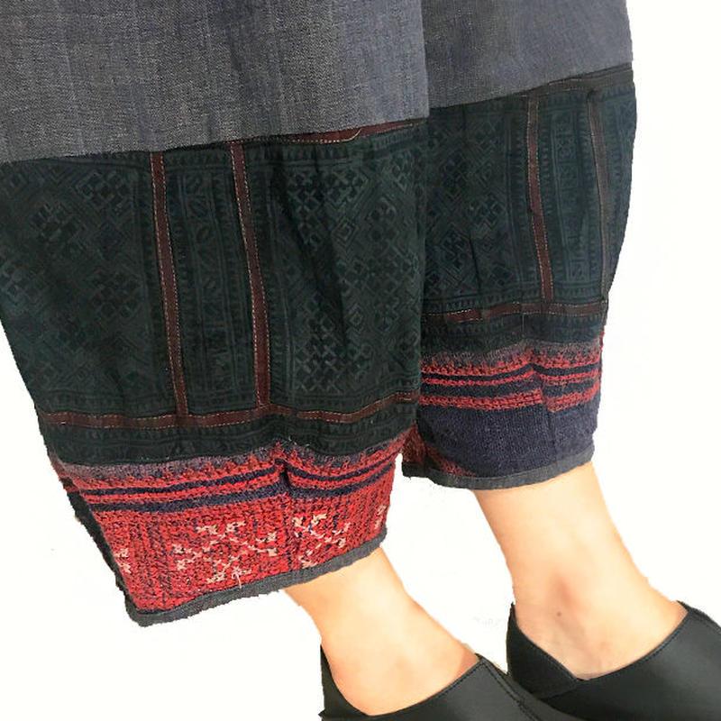 M~Lサイズ、手織りヘンプコットンのもんぺ、モン刺繍付きパンツ、ブルーグレー、オールシーズン