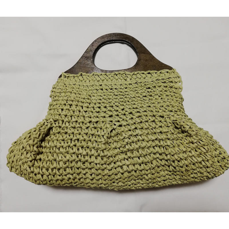 【送料無料・即納】Wood Handle Bag  ミントグリーン